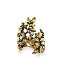 Mistletoe Brass Ring w/Glass Pearl - Alcozer & J