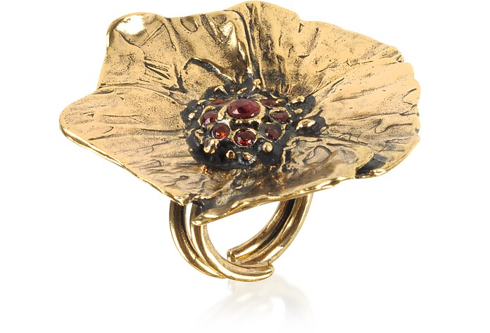 Goldtone Brass Poppy Ring - Alcozer & J
