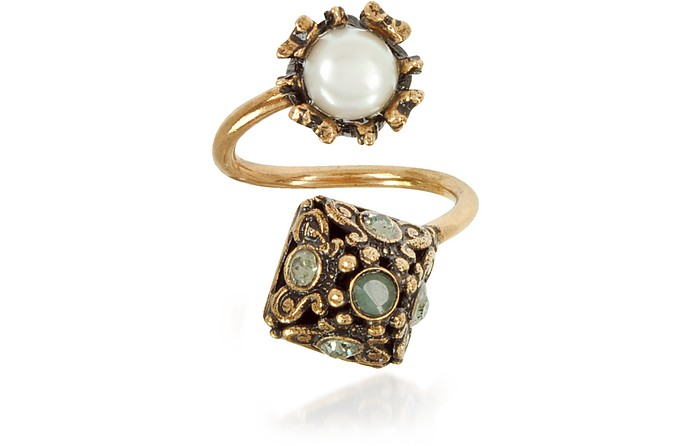 Pyramid and Pearl Ring w/Gemstones - Alcozer & J
