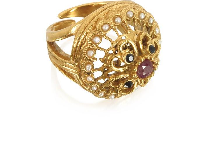 Mandala Ring w/Stones & Pearls - Alcozer & J