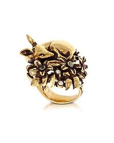 Fawn Goldtone Brass Ring w/Glass Pearl  - Alcozer & J