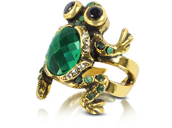Brass and Emerald Frog Ring - Alcozer & J