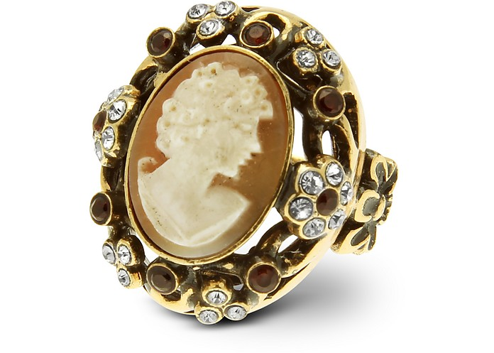 Cameo and Crystal Ring - Alcozer & J