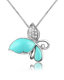 Diamond Gemstone Butterfly 18K Gold Pendant Necklace - Del Gatto