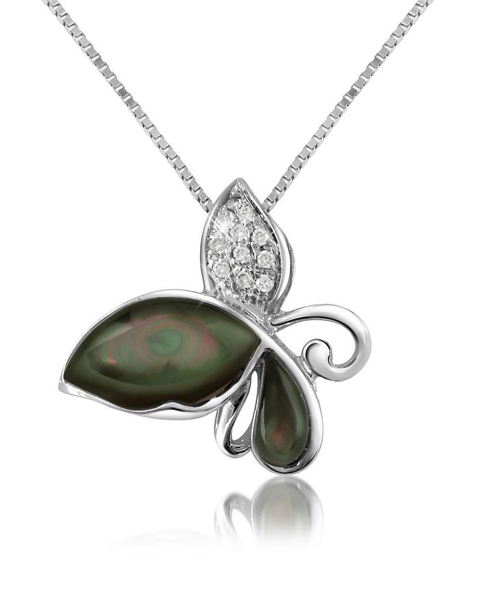 Diamond Gemstone Butterfly 18K Gold Pendant Necklace - Del Gatto