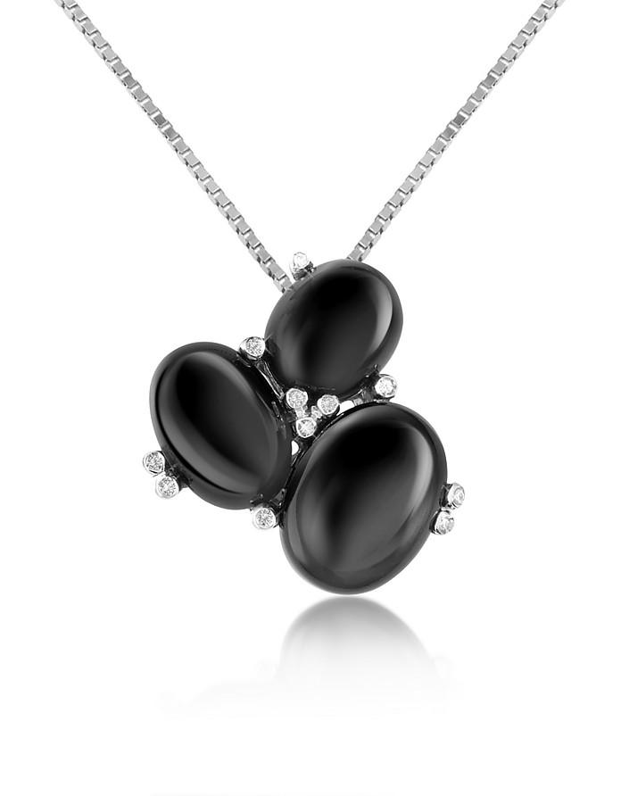 Halskette mit Anhänger aus drei Edelsteinen und Diamanten - 18k Gold - Del Gatto