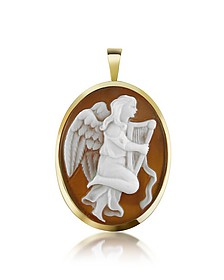 Angel with Lyre Sardonyx Cameo Pendant/Pin - Del Gatto