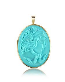 Medusa Turquoise Paste Cameo Pendant/Pin - Del Gatto