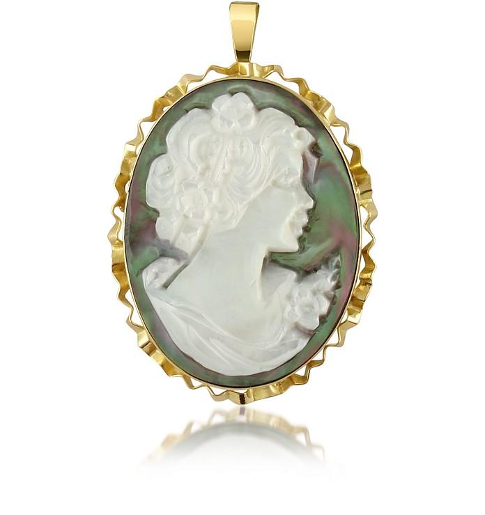 Woman Mother of Pearl Cameo Pendant/Pin - Del Gatto