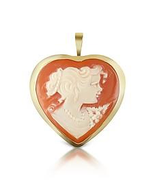 Woman Heart Cornelian Cameo Pendant/Pin - Del Gatto