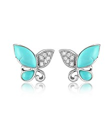 Boucles d'oreilles papillon en or blanc 750, gemme et diamants 0.09Ct  - Del Gatto