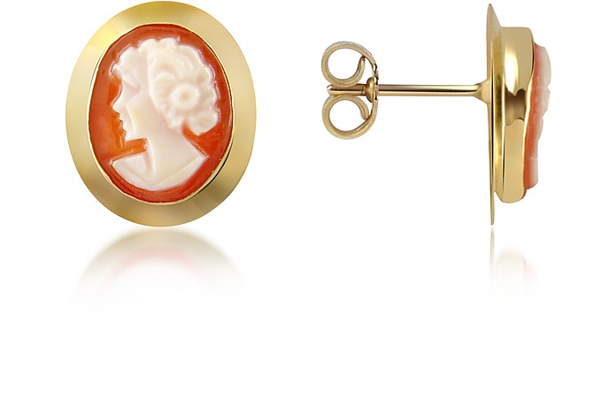 Woman Cornelian Cameo 18K Gold Earrings - Del Gatto
