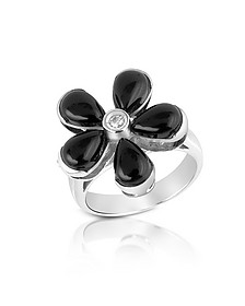 Diamond and Onyx Flower 18K Gold Ring - Del Gatto