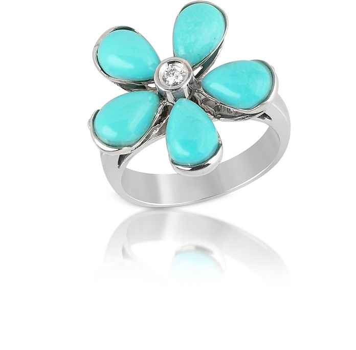 Diamond and Turquoise Flower 18K Gold Ring - Del Gatto