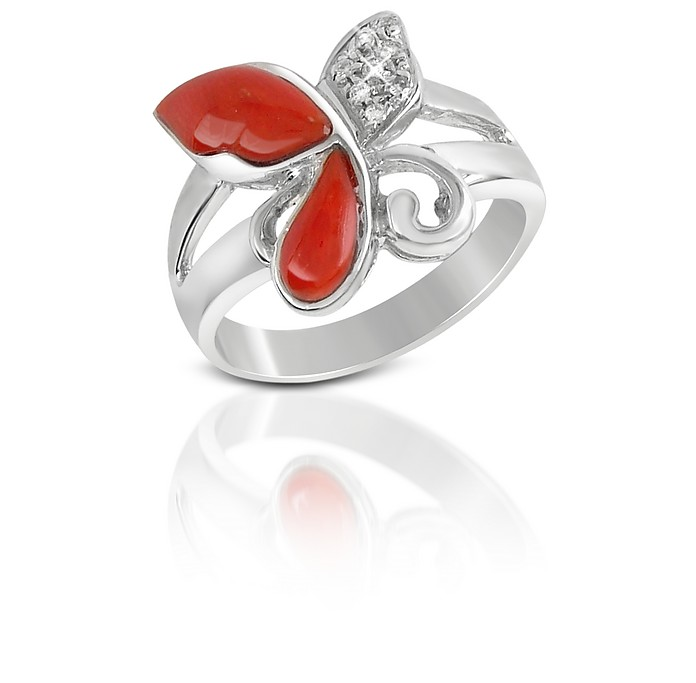 Diamond and Red Coral Butterfly 18K Gold Ring - Del Gatto