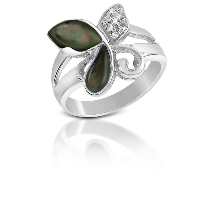 Diamond and Black Mother-of-Pearl Butterfly 18K Gold Ring - Del Gatto