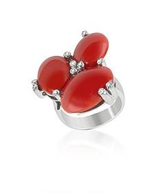 Diamond and Coral Three-stone 18K Gold Ring  - Del Gatto