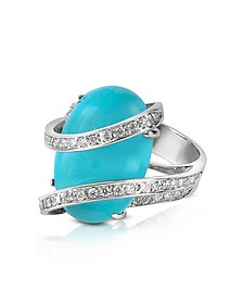 Turquoise Diamond Channel 18K Gold Ring - Del Gatto