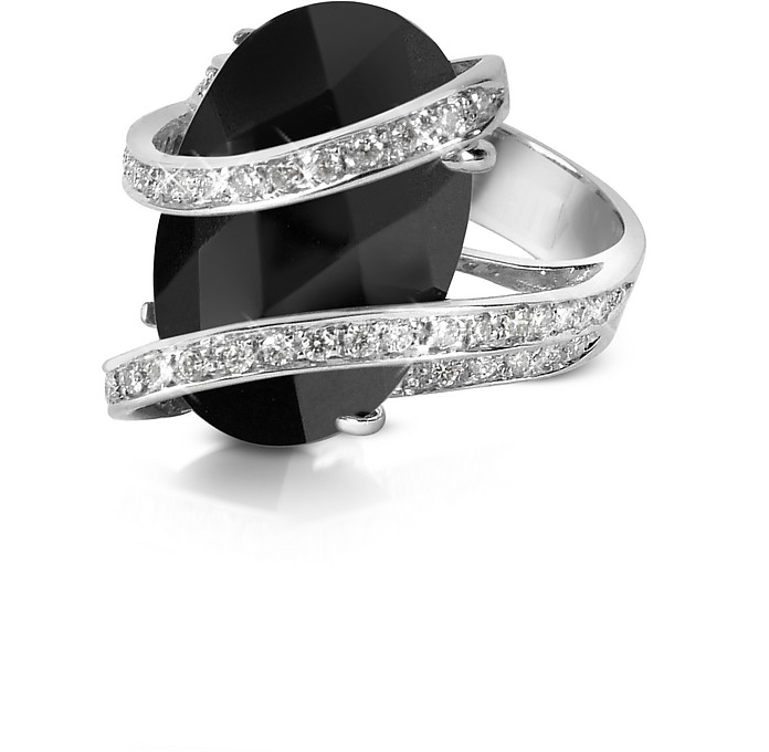 Bague en or 750, diamant 0.37Ct et onyx - Del Gatto