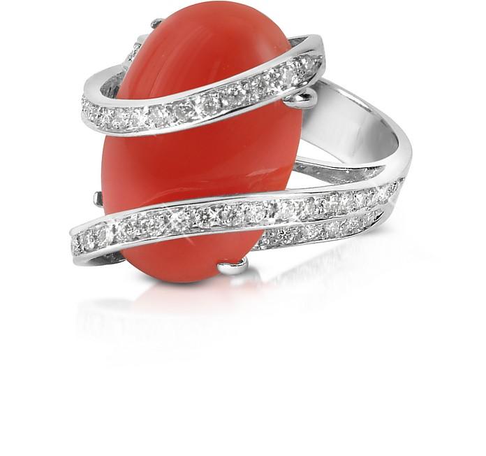 Red Coral Diamond Channel 18K Gold Ring - Del Gatto