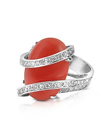 Bague en or 750, diamants 0.37Ct et corail - Del Gatto