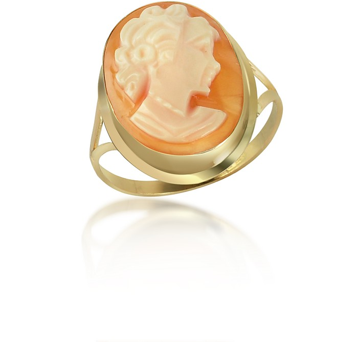 Woman Cornelian Cameo 18K Gold Ring - Del Gatto