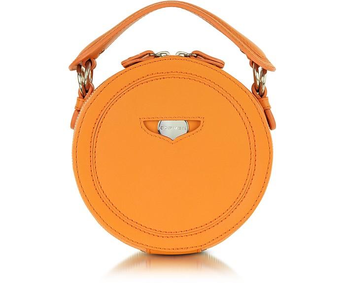 Orange Leather Round Clutch - Carven