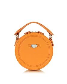Orange Leather Round Clutch
