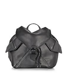 Plain Black Leather Backpack