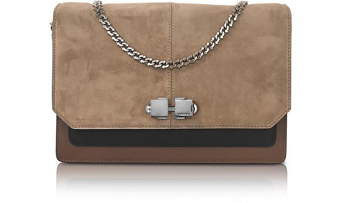 Color Block Suede and Leather Flap Shoulder Bag - Carven
