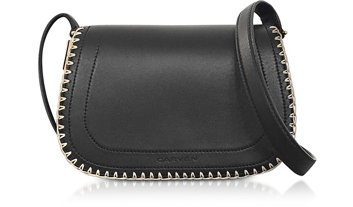 Mazarine Black Leather Crossbody Twin Bag - Carven