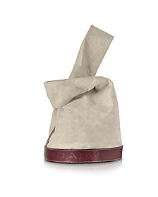Fleurus Beige Canvas and Burgundy Leather Tote Bag - Carven