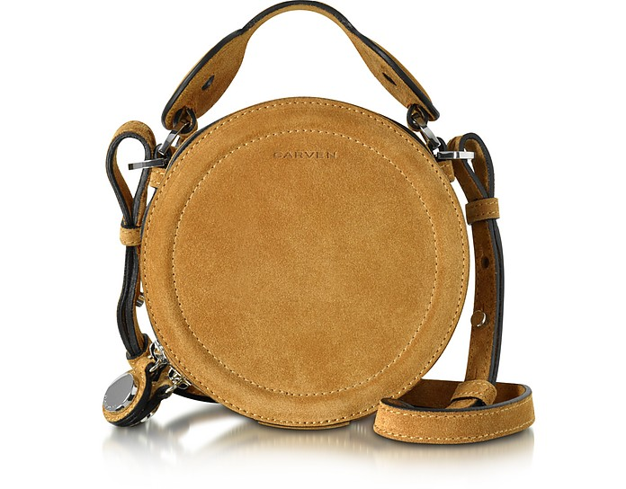 Saint Sulpice Cognac Suede Small Round Bag  - Carven