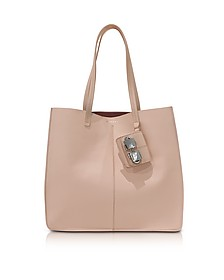 Flore Large Nude Leather Tote Bag - Carven