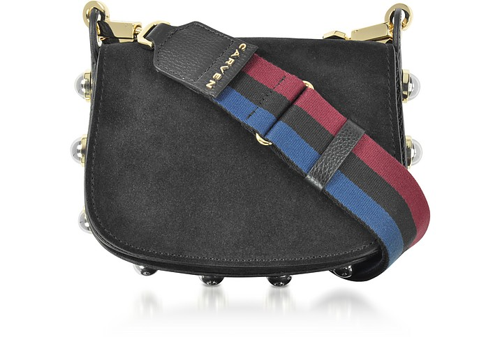 Black Grainy Leather Mini Germain Shoulder Bag - Carven