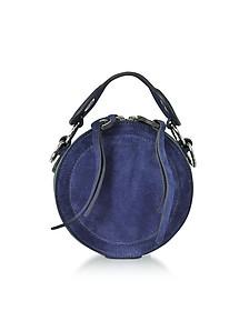 Orsay Navy Blue Suede Round Crossbody Bag - Carven