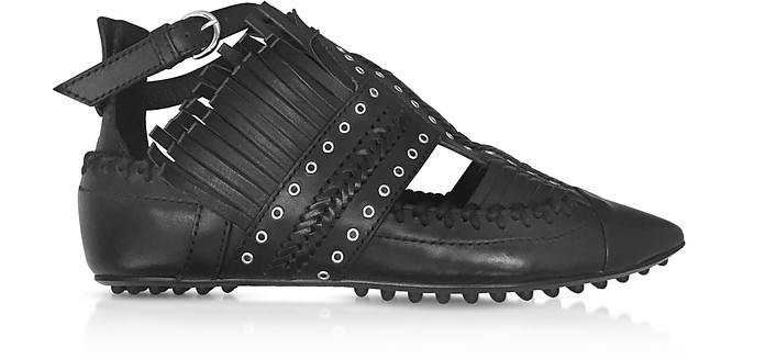 Black Fringed Leather Flat Ballerinas - Carven / カルヴェン