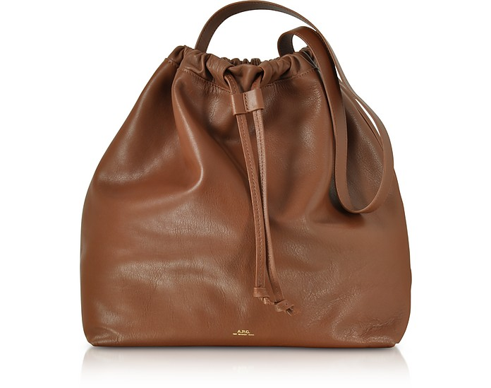 Brown Leather Lena Bucket Bag - A.P.C.