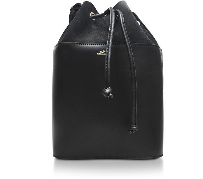 Black Smooth Leather and Nubuck Clara Bucket Bag - A.P.C.