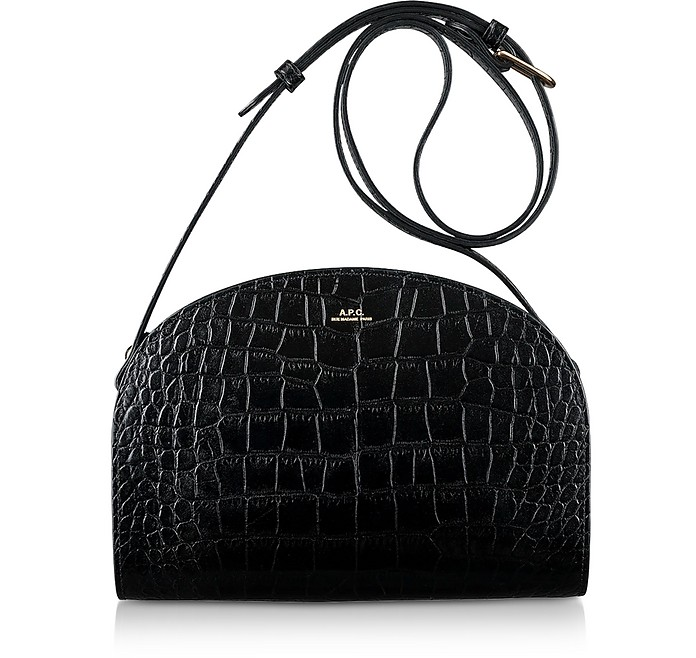 Black Croco Embossed Leather Demi-Lune Shoulder Bag - A.P.C.