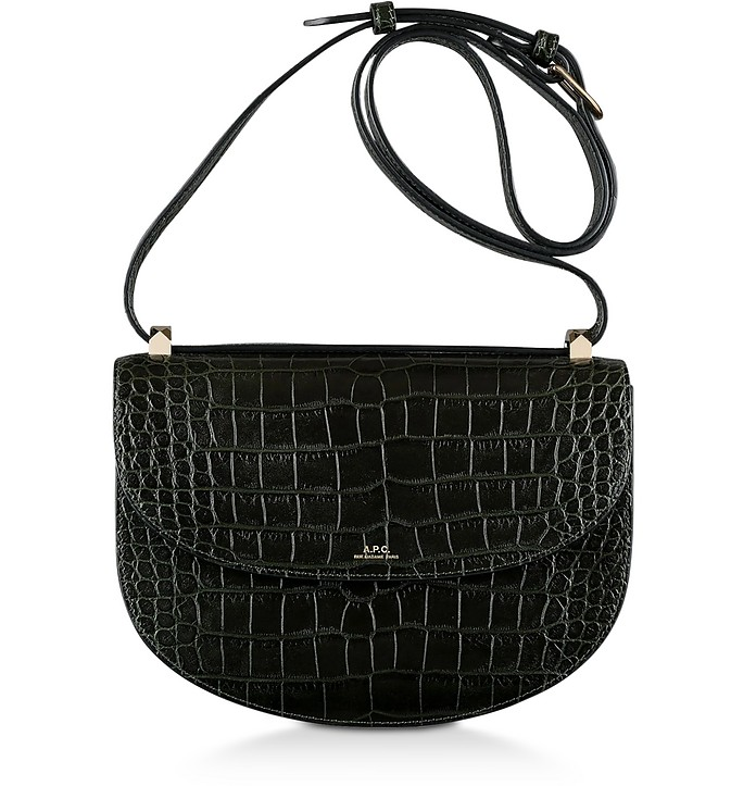 Dark Green Croco Embossed Leather Geneve Crossbody Bag - A.P.C.