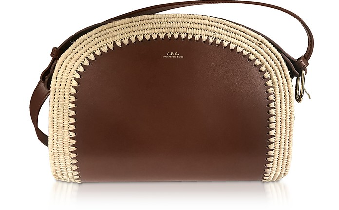 A.p.c. Woven Straw & Leather Demi-lune Crossbody Bag In Hazel