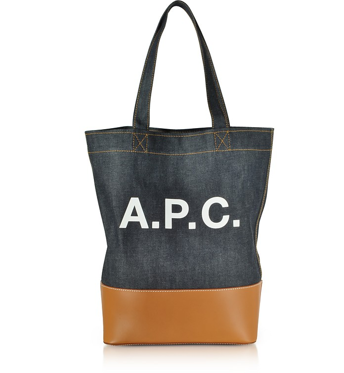 Axel Denim and Caramel Leather Tote Bag - A.P.C.