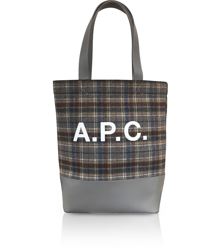 Tartan Wool and Leather Axel Tote bag - A.P.C.
