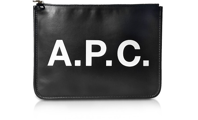 Black Signature Vinyl Clutch - A.P.C.
