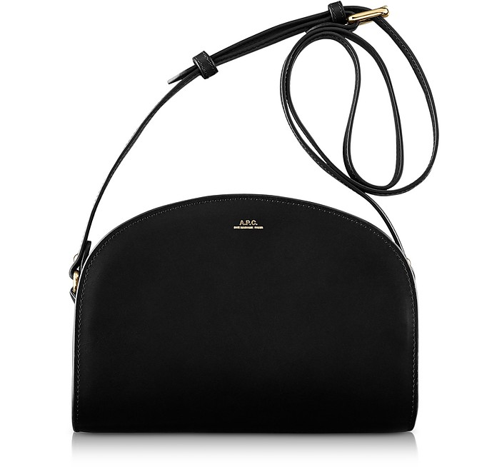 Half Moon Thick Leather Crossbody Bag in Black