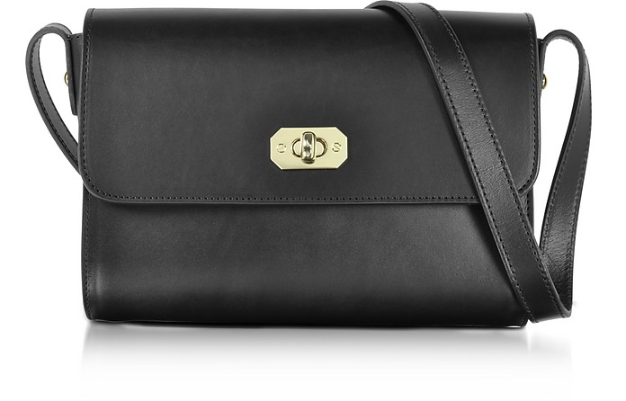817eee40c0 A.P.C. Greenwich Black Leather Crossbody Bag at FORZIERI