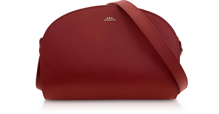 Dark Red Half Moon Smooth Leather Crossbody  - A.P.C.