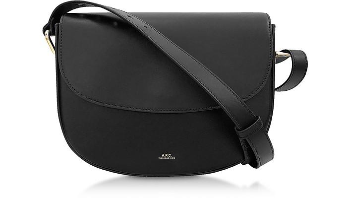Odette Black Leather Flap Shoulder Bag - A.P.C.