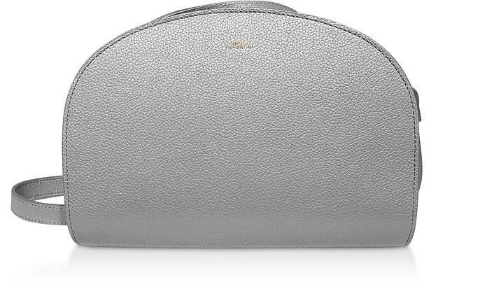 Demi Lune Gray Leather Shoulder Bag - A.P.C.